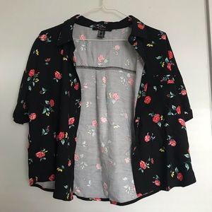 Rose Print Pocket Shirt